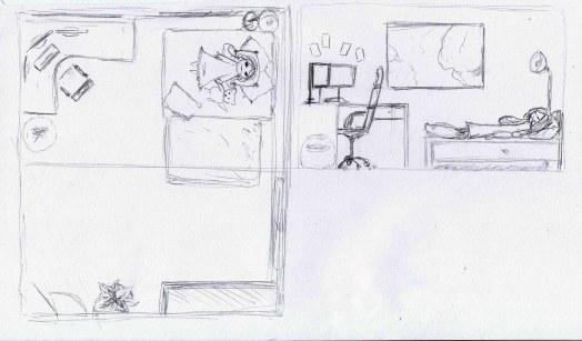 Plan et coupe Chambre de Mme I