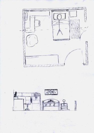 Plan et coupe chambre de Joanna