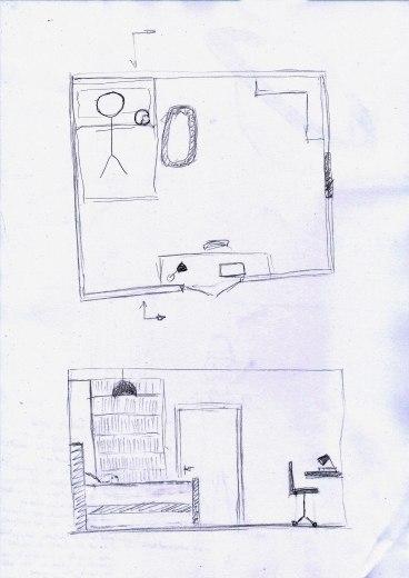 Plan et coupe chambre de Laurenne