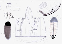 élévation, plan d'urba de la ville flottante, élévation et coupe d'un immeuble d'habitation, schéma énergétique